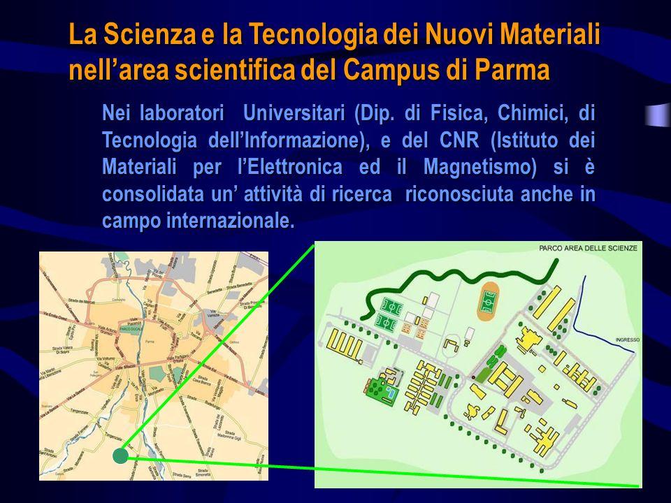 La Scienza e la Tecnologia dei Nuovi Materiali nellarea scientifica del Campus di Parma Nei laboratori Universitari (Dip. di Fisica, Chimici, di Tecno