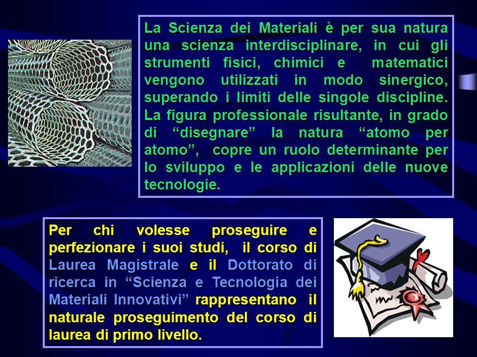 La Scienza dei Materiali è per sua natura una scienza interdisciplinare, in cui gli strumenti fisici, chimici e matematici vengono utilizzati in modo