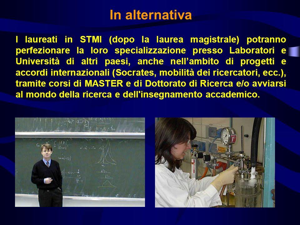 In alternativa I laureati in STMI (dopo la laurea magistrale) potranno perfezionare la loro specializzazione presso Laboratori e Università di altri p