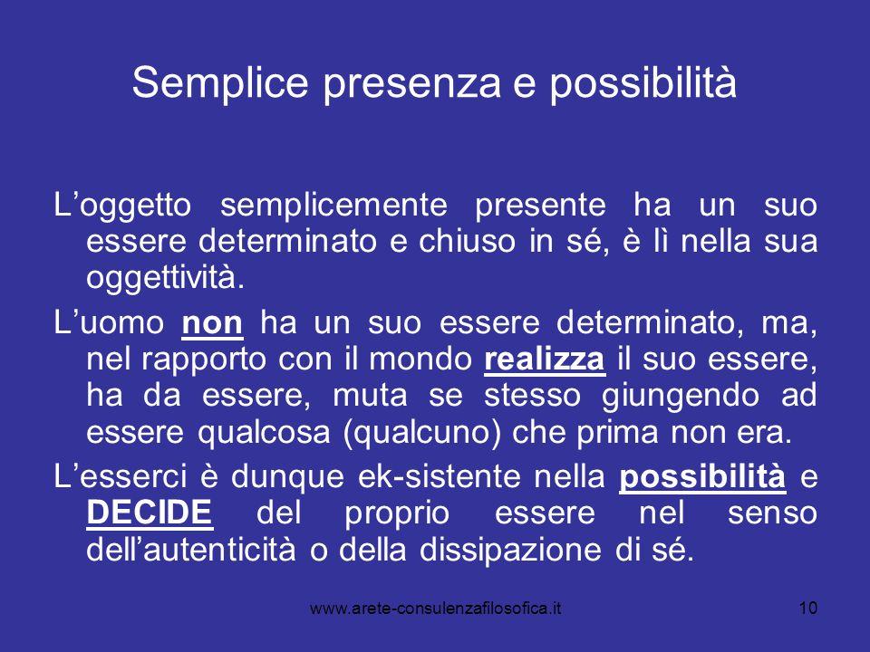 10 Semplice presenza e possibilità Loggetto semplicemente presente ha un suo essere determinato e chiuso in sé, è lì nella sua oggettività. Luomo non