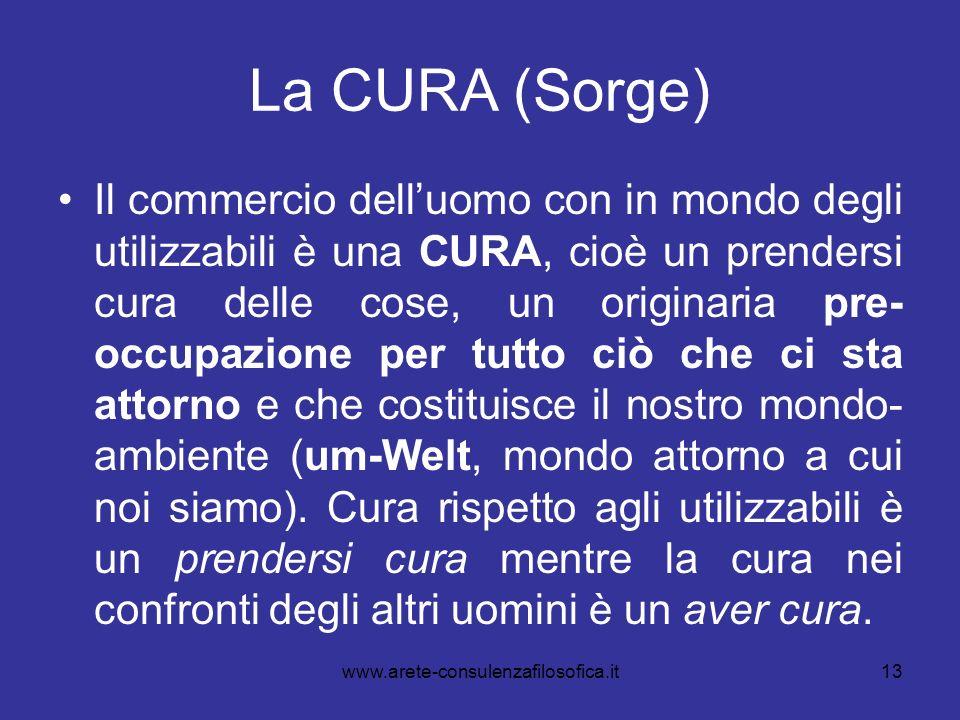 13 La CURA (Sorge) Il commercio delluomo con in mondo degli utilizzabili è una CURA, cioè un prendersi cura delle cose, un originaria pre- occupazione
