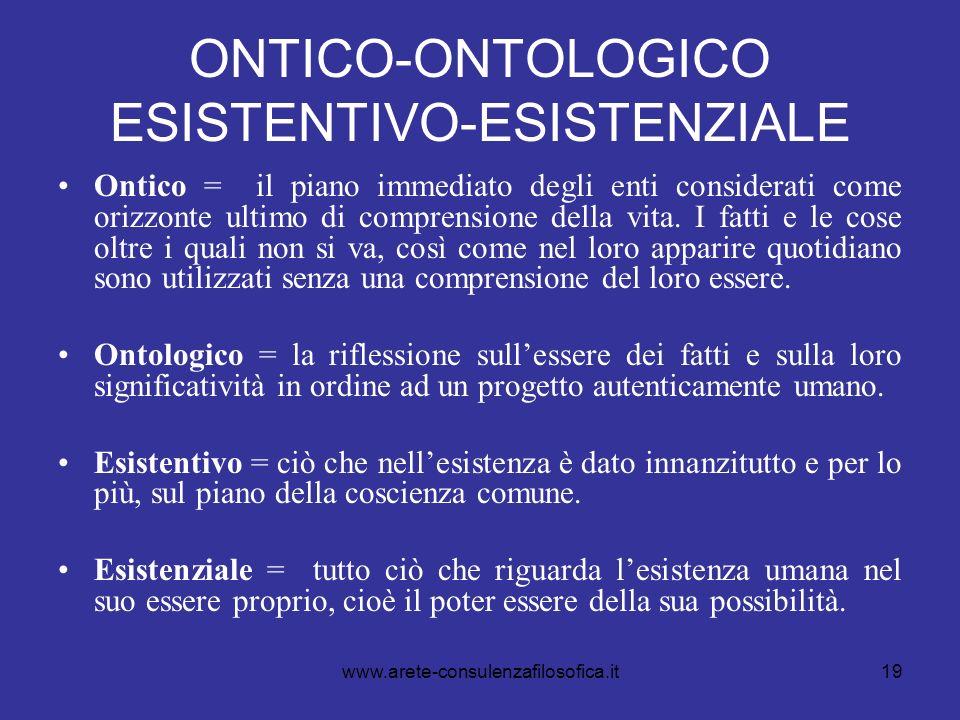 19 ONTICO-ONTOLOGICO ESISTENTIVO-ESISTENZIALE Ontico = il piano immediato degli enti considerati come orizzonte ultimo di comprensione della vita. I f