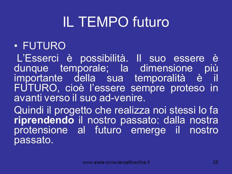 26 IL TEMPO futuro FUTURO LEsserci è possibilità. Il suo essere è dunque temporale; la dimensione più importante della sua temporalità è il FUTURO, ci