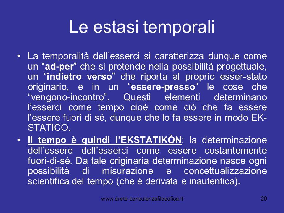 29 Le estasi temporali La temporalità dellesserci si caratterizza dunque come un ad-per che si protende nella possibilità progettuale, un indietro ver