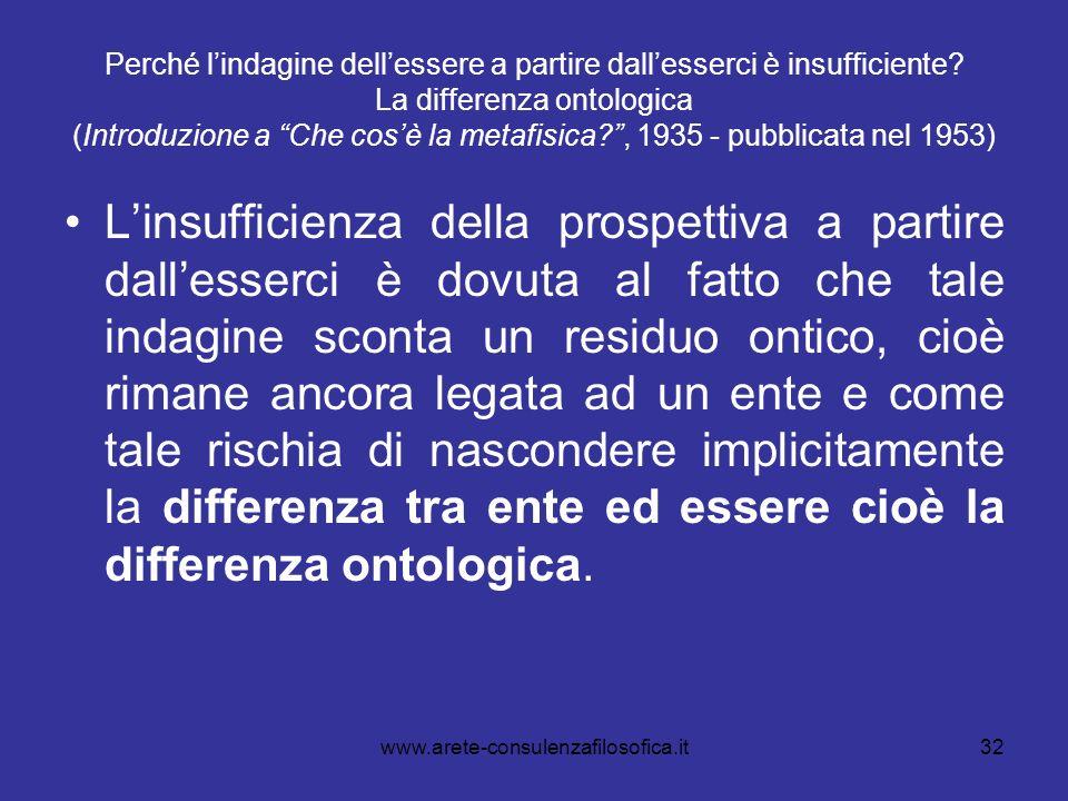 32 Perché lindagine dellessere a partire dallesserci è insufficiente? La differenza ontologica (Introduzione a Che cosè la metafisica?, 1935 - pubblic