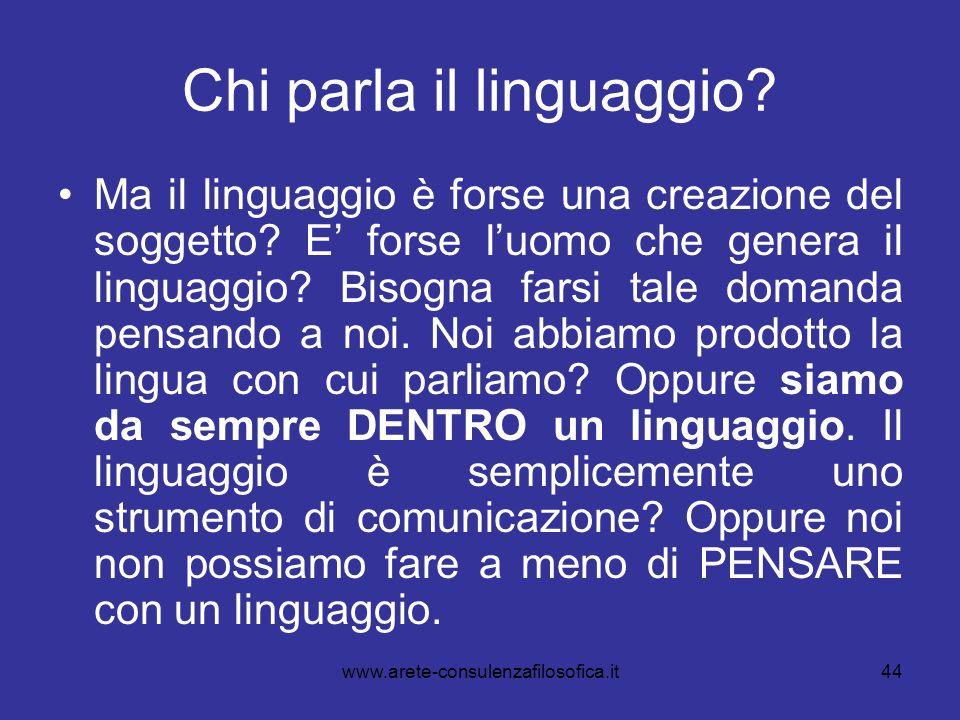44 Chi parla il linguaggio? Ma il linguaggio è forse una creazione del soggetto? E forse luomo che genera il linguaggio? Bisogna farsi tale domanda pe