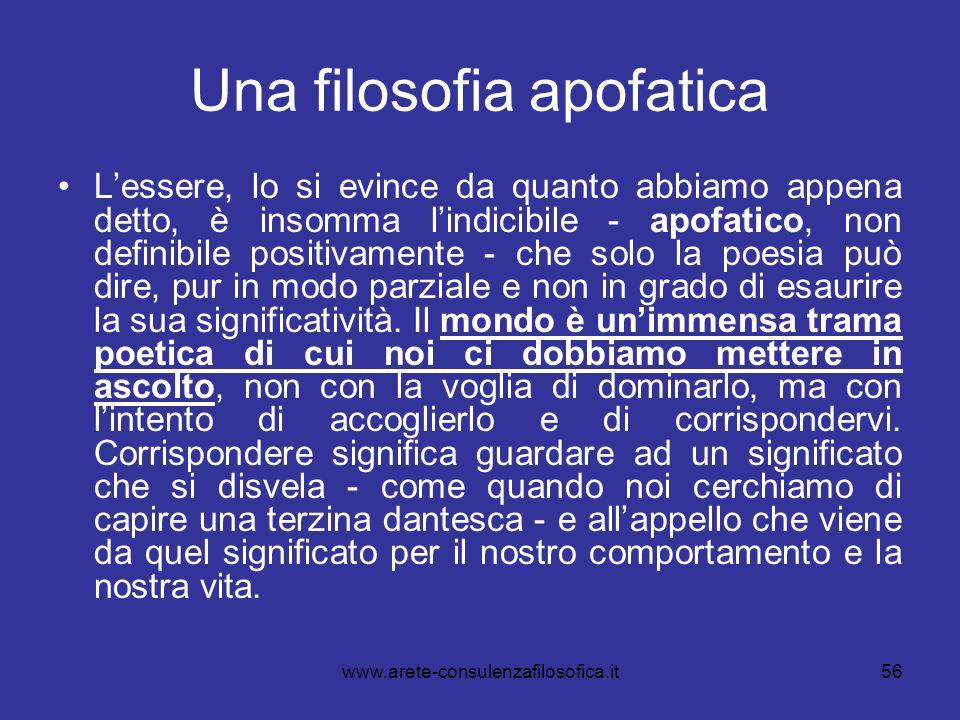56 Una filosofia apofatica Lessere, lo si evince da quanto abbiamo appena detto, è insomma lindicibile - apofatico, non definibile positivamente - che