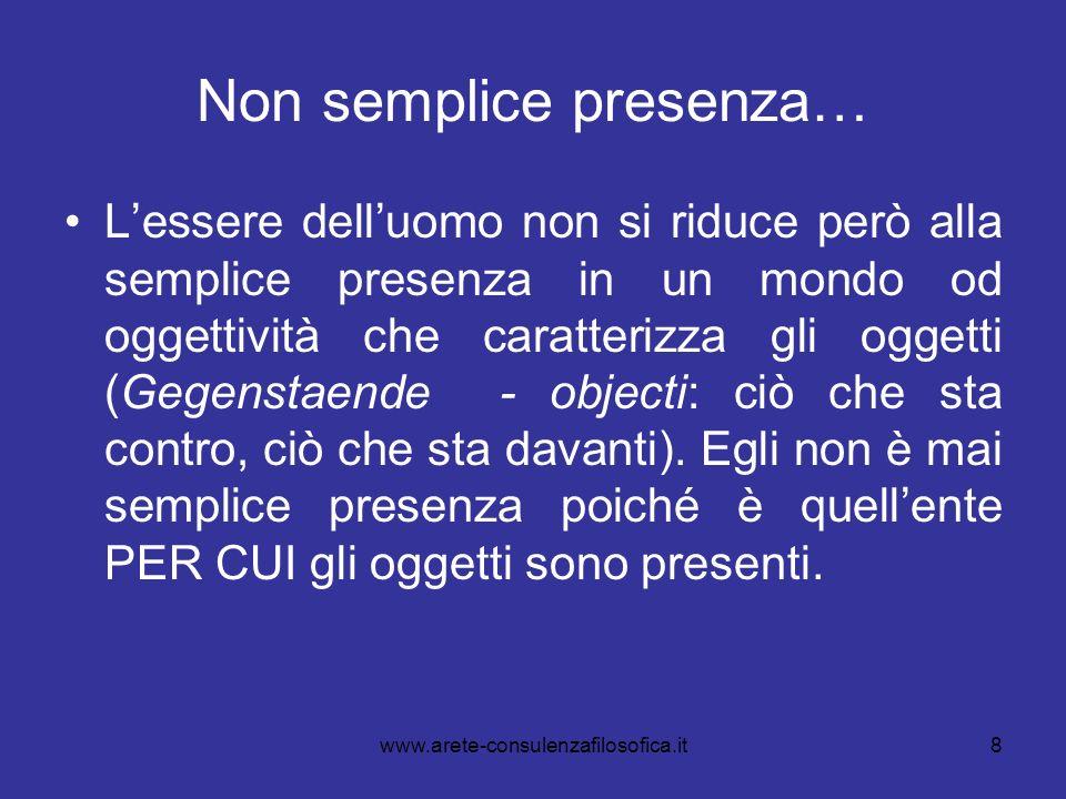 8 Non semplice presenza… Lessere delluomo non si riduce però alla semplice presenza in un mondo od oggettività che caratterizza gli oggetti (Gegenstae