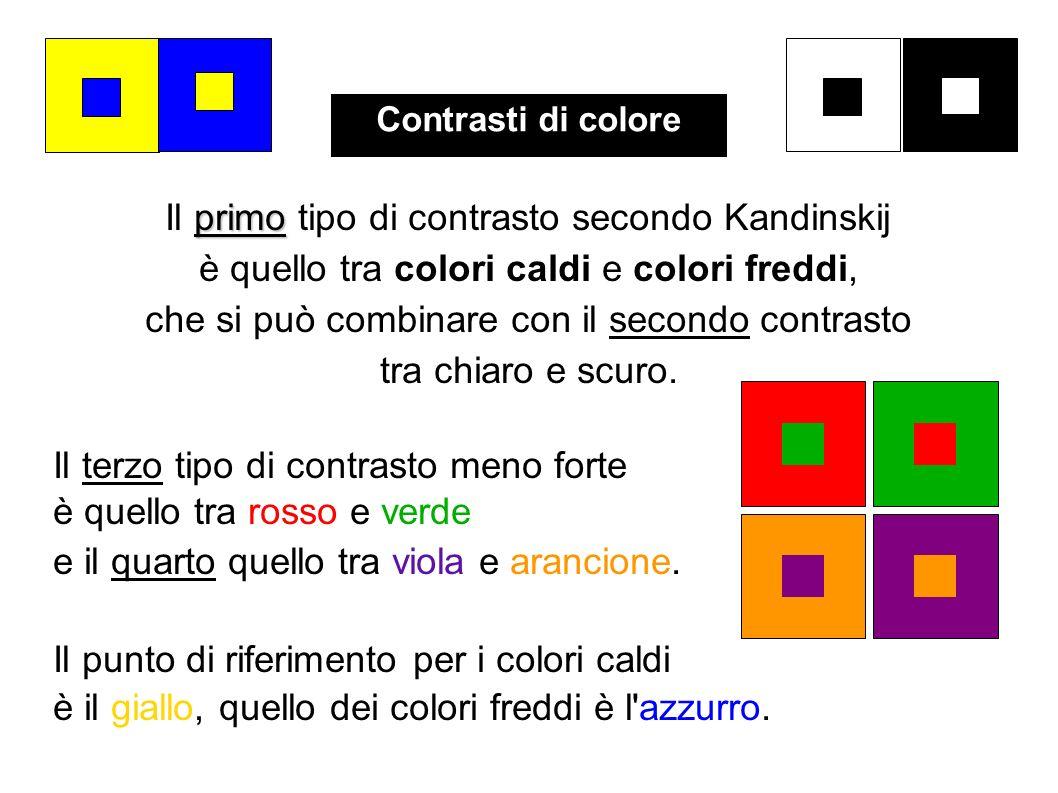 primo Il primo tipo di contrasto secondo Kandinskij è quello tra colori caldi e colori freddi, che si può combinare con il secondo contrasto tra chiar