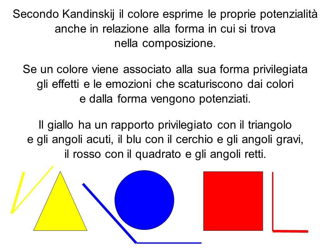 Secondo Kandinskij il colore esprime le proprie potenzialità anche in relazione alla forma in cui si trova nella composizione. Se un colore viene asso