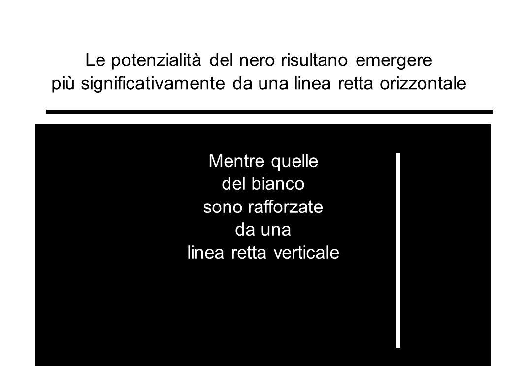 Le potenzialità del nero risultano emergere più significativamente da una linea retta orizzontale Mentre quelle del bianco sono rafforzate da una line