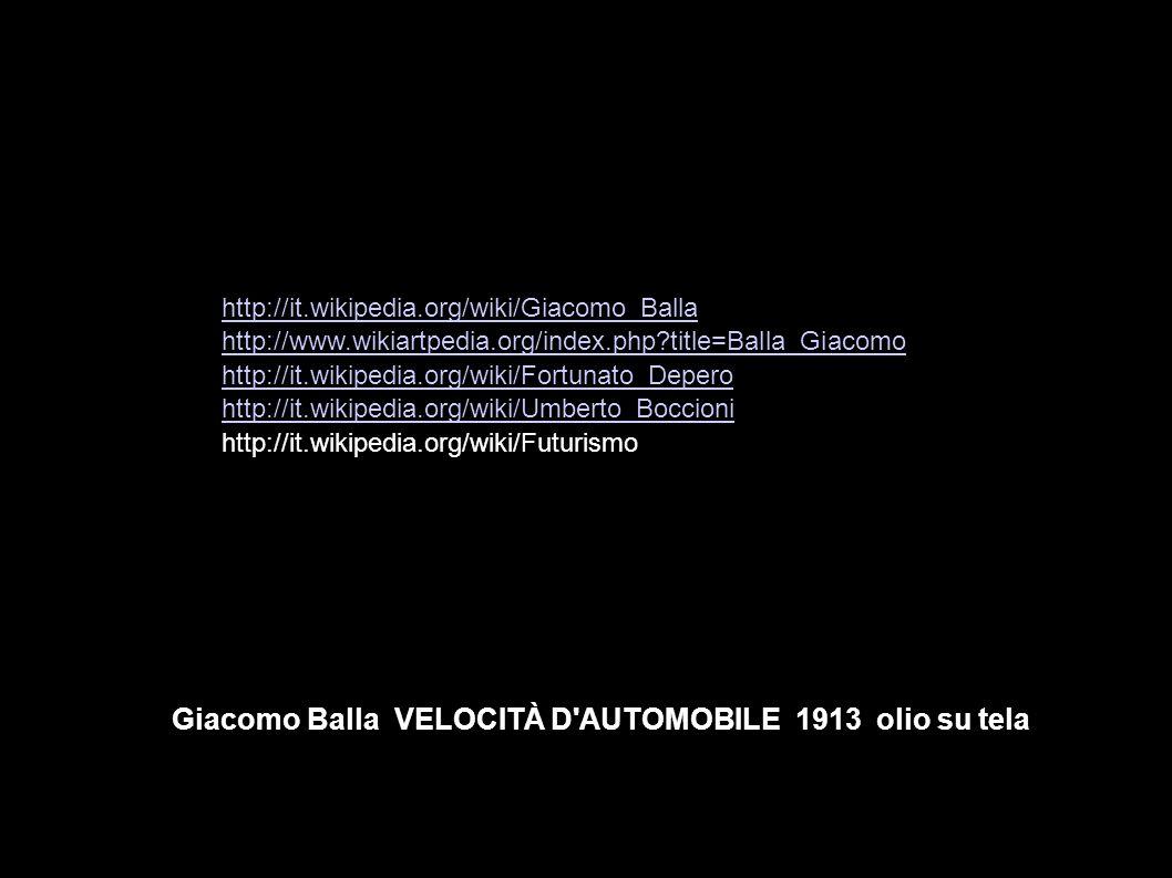 Giacomo Balla VELOCITÀ D'AUTOMOBILE 1913 olio su tela http://it.wikipedia.org/wiki/Giacomo_Balla http://www.wikiartpedia.org/index.php?title=Balla_Gia
