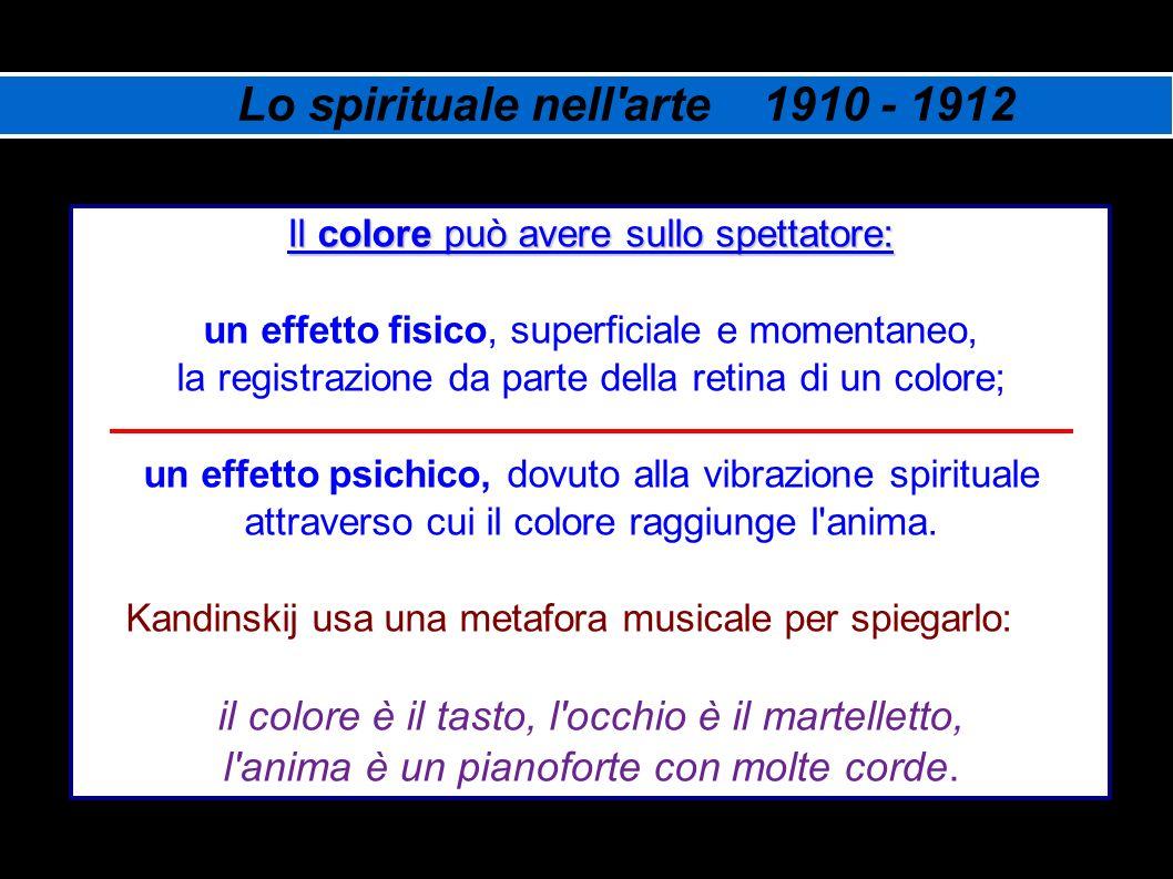 Lo spirituale nell'arte 1910 - 1912 Il colore può avere sullo spettatore: un effetto fisico, superficiale e momentaneo, la registrazione da parte dell