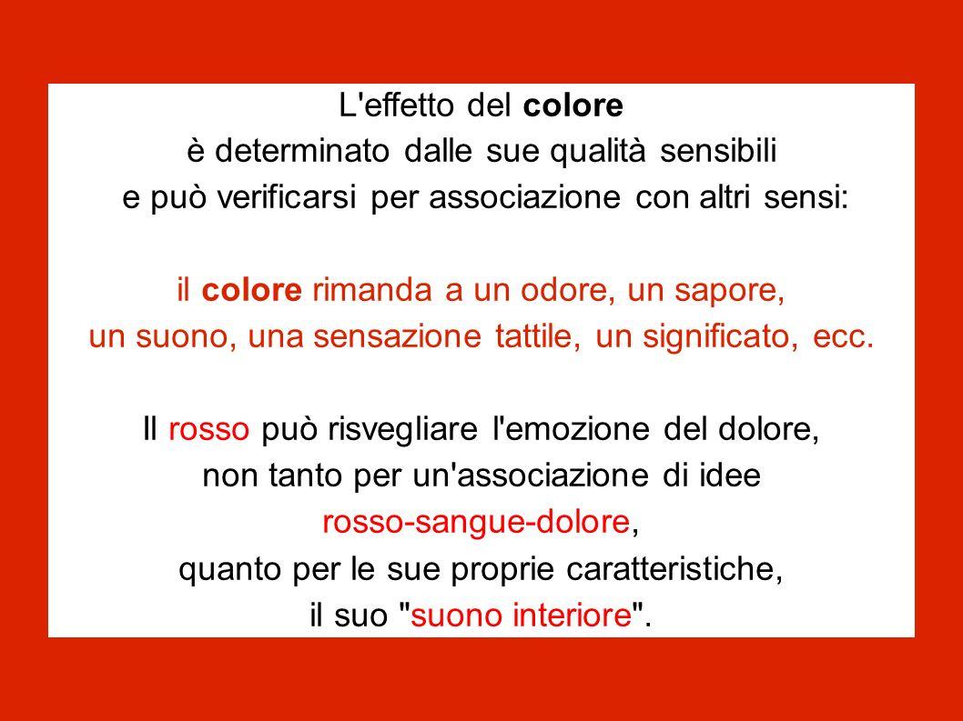 L'effetto del colore è determinato dalle sue qualità sensibili e può verificarsi per associazione con altri sensi: il colore rimanda a un odore, un sa