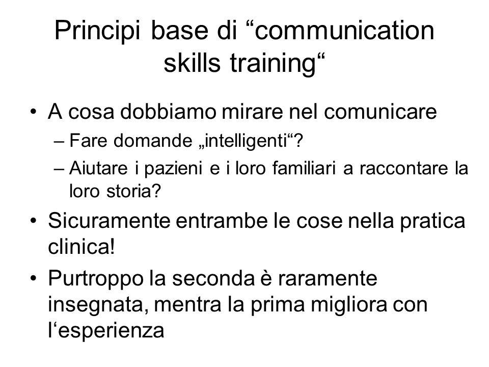 Principi base di communication skills training A cosa dobbiamo mirare nel comunicare –Fare domande intelligenti? –Aiutare i pazieni e i loro familiari
