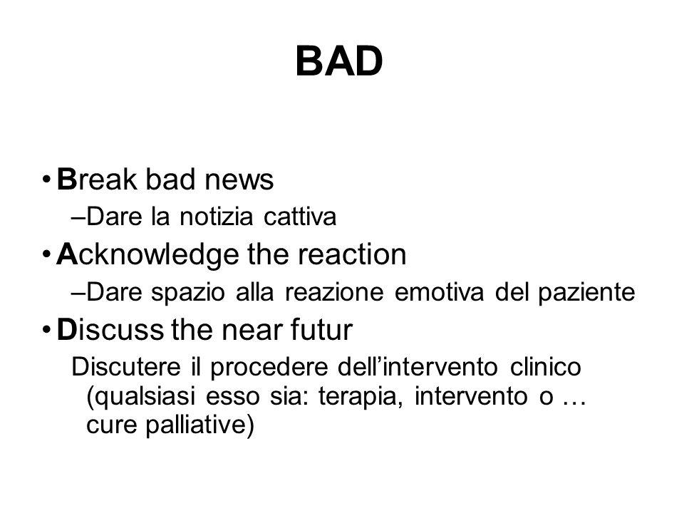 BAD Break bad news –Dare la notizia cattiva Acknowledge the reaction –Dare spazio alla reazione emotiva del paziente Discuss the near futur Discutere