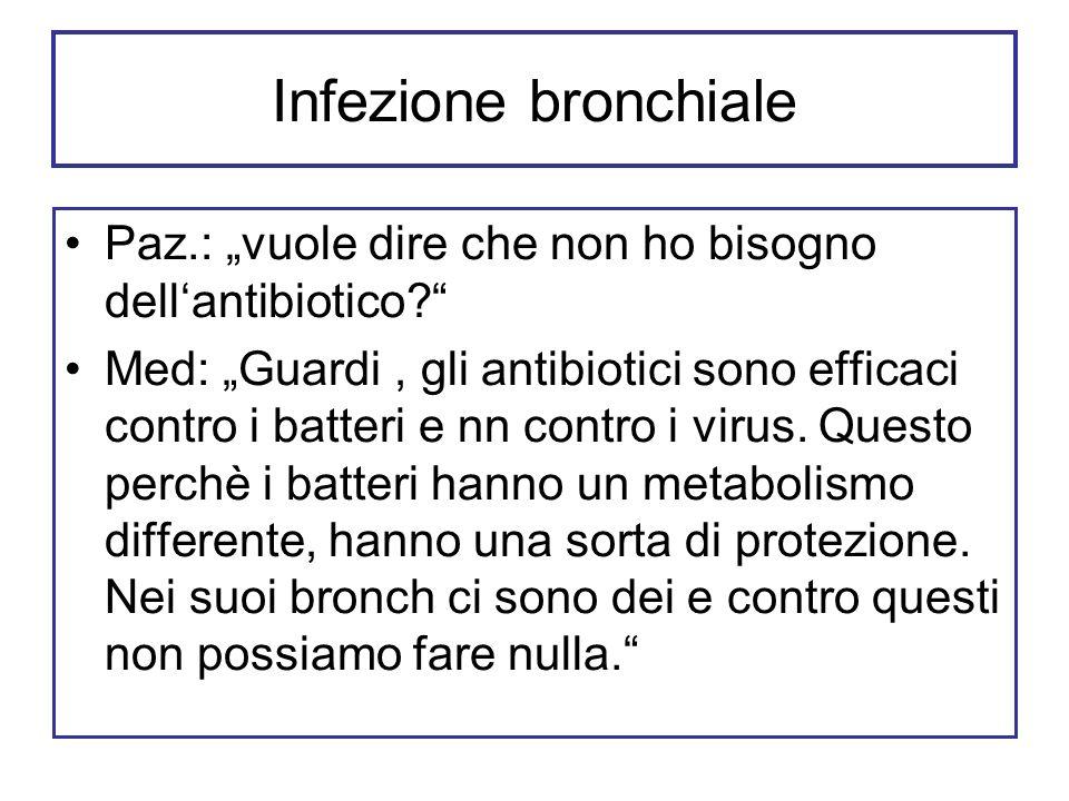 Infezione bronchiale Paz.: vuole dire che non ho bisogno dellantibiotico? Med: Guardi, gli antibiotici sono efficaci contro i batteri e nn contro i vi
