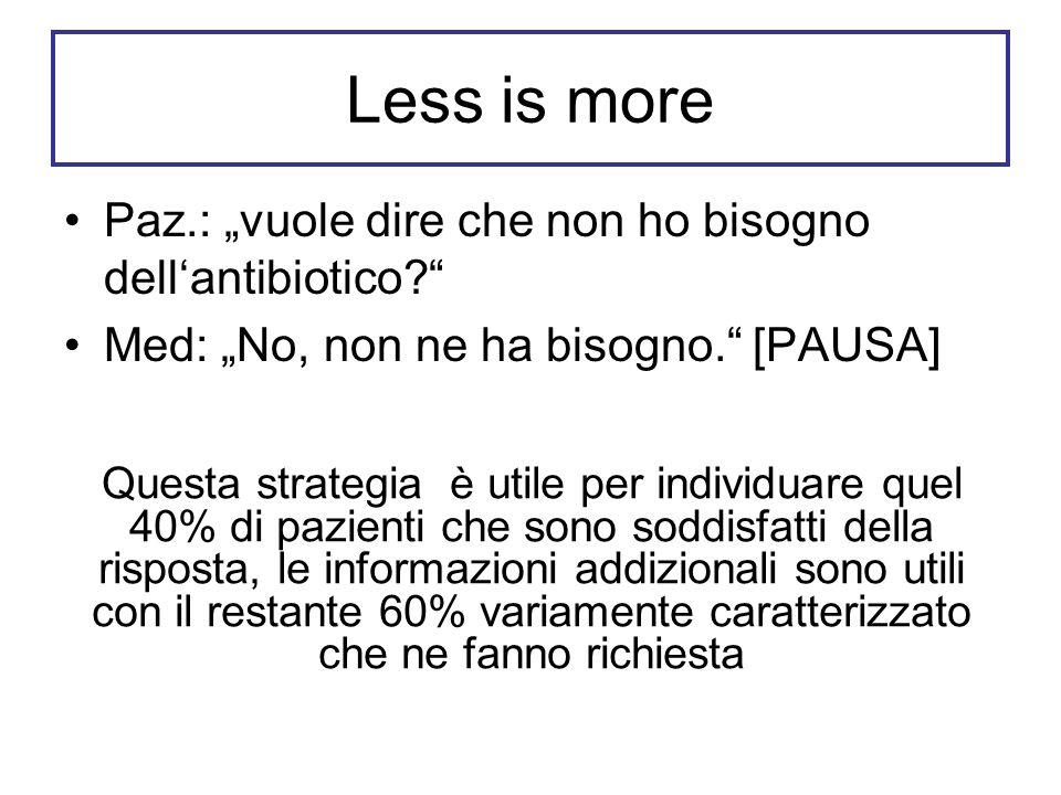Less is more Paz.: vuole dire che non ho bisogno dellantibiotico? Med: No, non ne ha bisogno. [PAUSA] Questa strategia è utile per individuare quel 40