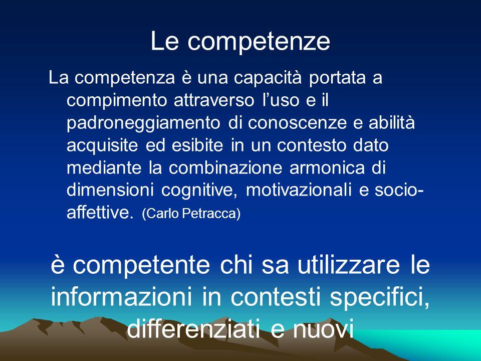 Le competenze La competenza è una capacità portata a compimento attraverso luso e il padroneggiamento di conoscenze e abilità acquisite ed esibite in