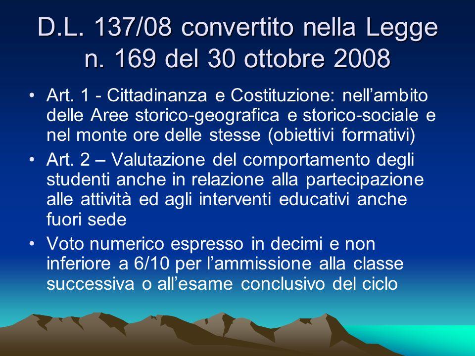 D.L. 137/08 convertito nella Legge n. 169 del 30 ottobre 2008 Art. 1 - Cittadinanza e Costituzione: nellambito delle Aree storico-geografica e storico