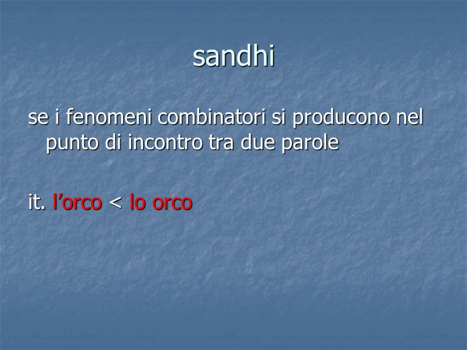 sandhi se i fenomeni combinatori si producono nel punto di incontro tra due parole it. lorco < lo orco