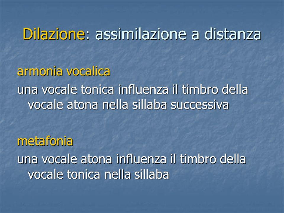 Dilazione: assimilazione a distanza armonia vocalica una vocale tonica influenza il timbro della vocale atona nella sillaba successiva metafonia una v