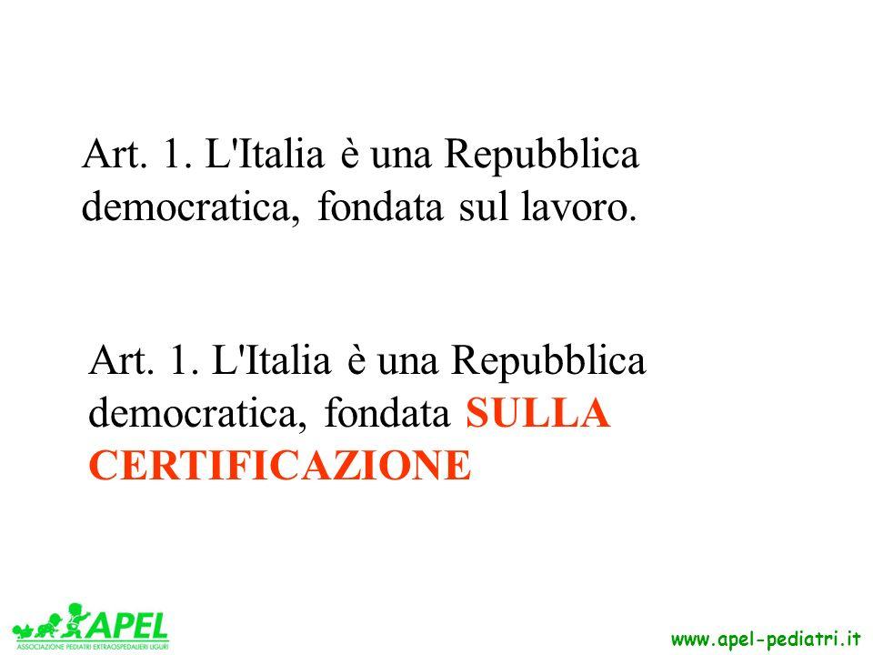 www.apel-pediatri.it Art. 1. L'Italia è una Repubblica democratica, fondata sul lavoro. Art. 1. L'Italia è una Repubblica democratica, fondata SULLA C