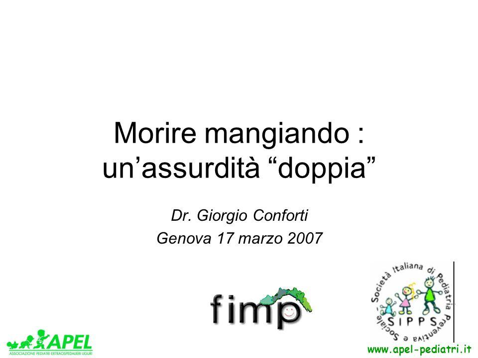 Morire mangiando : unassurdità doppia Dr. Giorgio Conforti Genova 17 marzo 2007