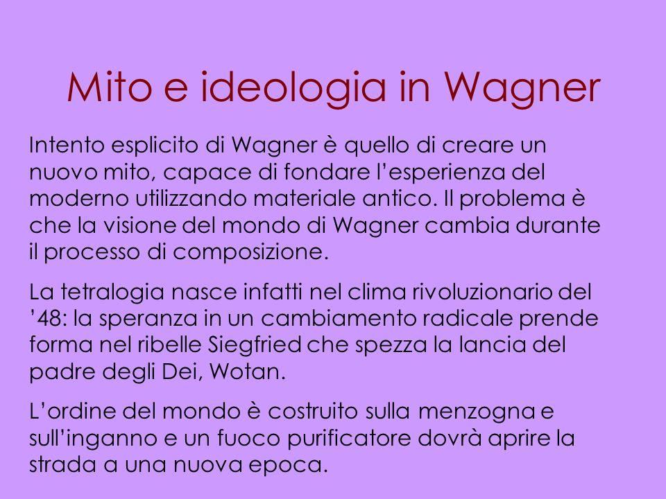 Mito e ideologia in Wagner Intento esplicito di Wagner è quello di creare un nuovo mito, capace di fondare lesperienza del moderno utilizzando materia