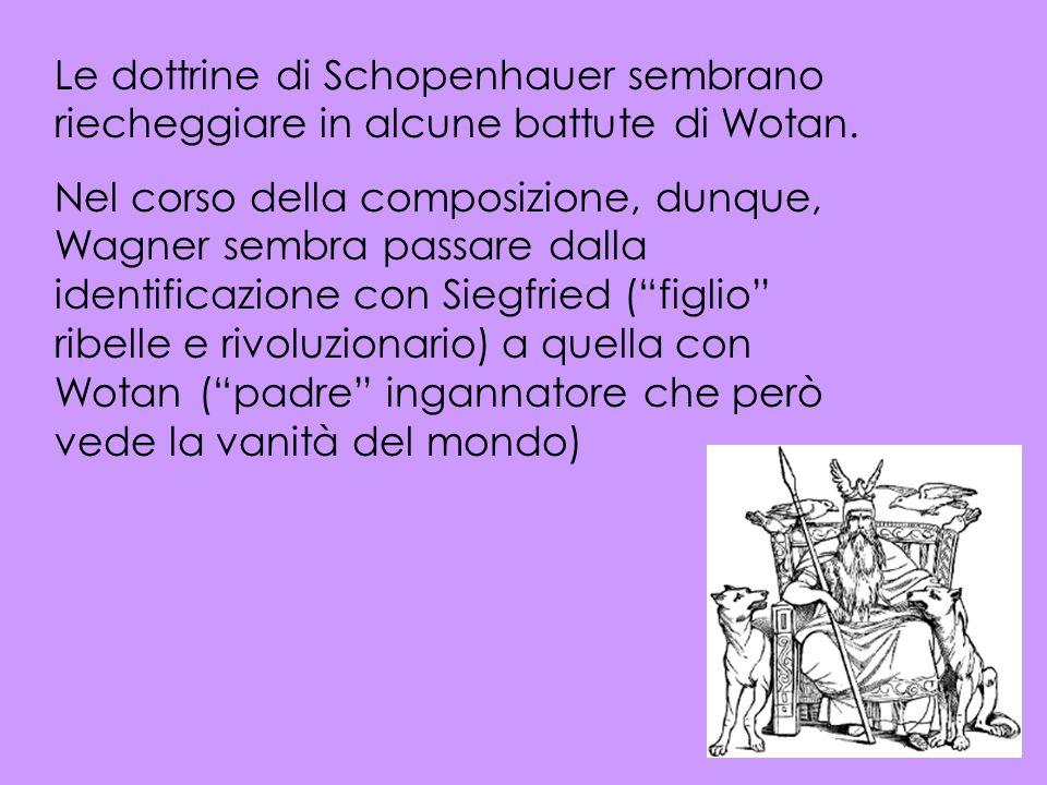 Le dottrine di Schopenhauer sembrano riecheggiare in alcune battute di Wotan. Nel corso della composizione, dunque, Wagner sembra passare dalla identi
