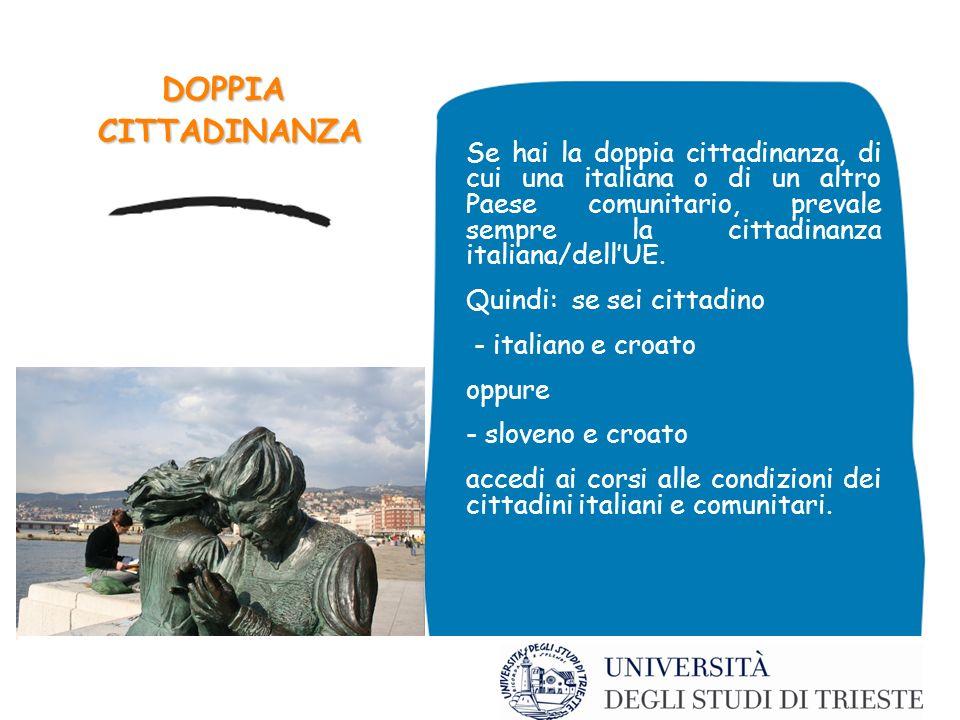 DOPPIA CITTADINANZA CITTADINANZA Se hai la doppia cittadinanza, di cui una italiana o di un altro Paese comunitario, prevale sempre la cittadinanza italiana/dellUE.