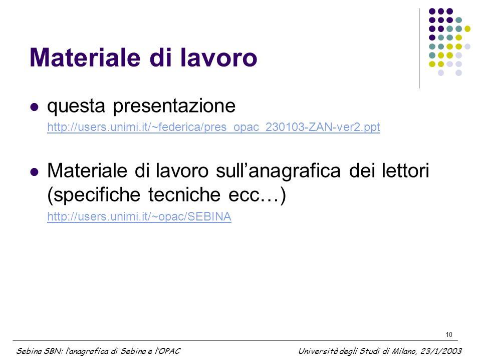 10 Materiale di lavoro questa presentazione http://users.unimi.it/~federica/pres_opac_230103-ZAN-ver2.ppt Materiale di lavoro sullanagrafica dei letto