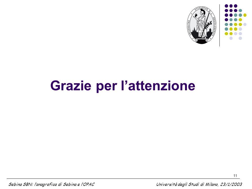11 Grazie per lattenzione Sebina SBN: lanagrafica di Sebina e lOPAC Università degli Studi di Milano, 23/1/2003