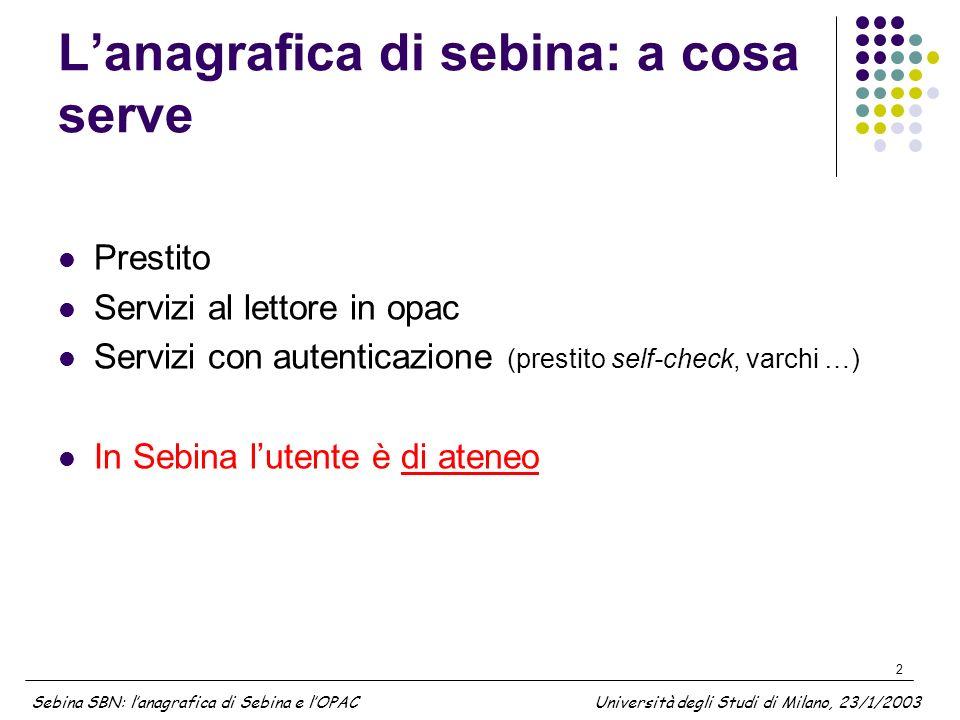 2 Lanagrafica di sebina: a cosa serve Prestito Servizi al lettore in opac Servizi con autenticazione (prestito self-check, varchi …) In Sebina lutente