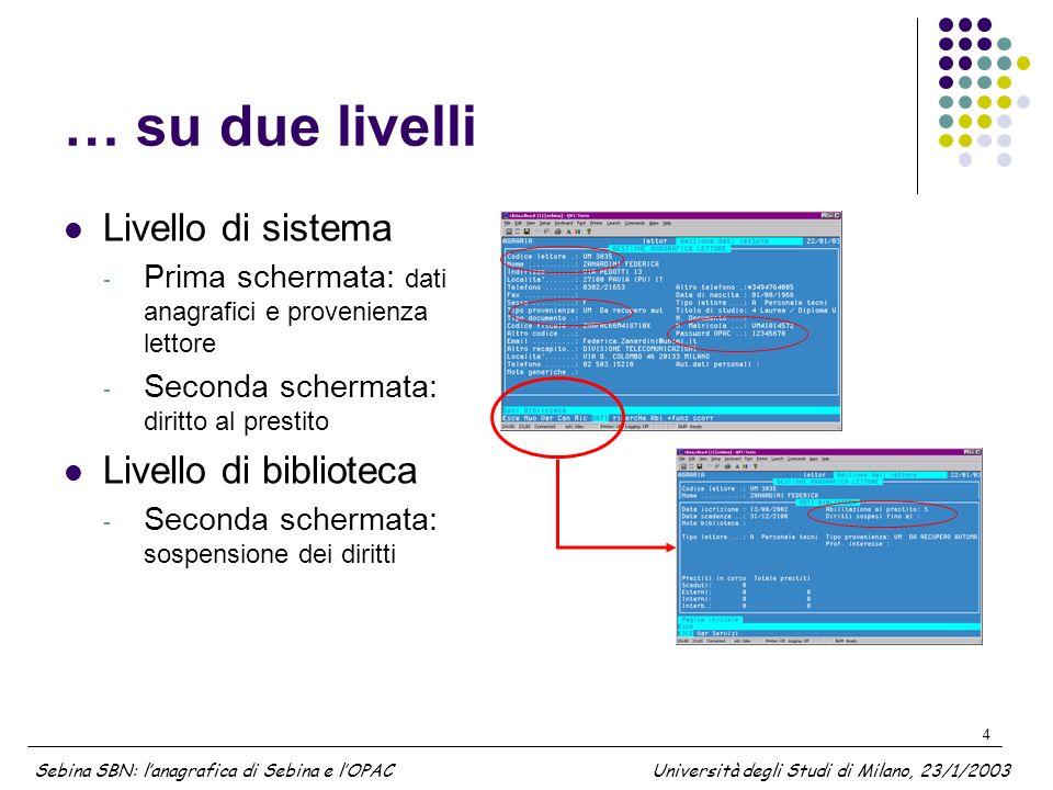 4 … su due livelli Livello di sistema - Prima schermata: dati anagrafici e provenienza lettore - Seconda schermata: diritto al prestito Livello di bib