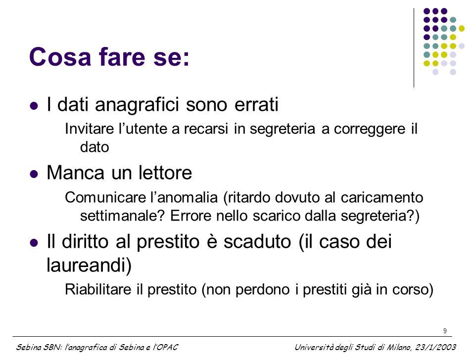 10 Materiale di lavoro questa presentazione http://users.unimi.it/~federica/pres_opac_230103-ZAN-ver2.ppt Materiale di lavoro sullanagrafica dei lettori (specifiche tecniche ecc…) http://users.unimi.it/~opac/SEBINA Sebina SBN: lanagrafica di Sebina e lOPAC Università degli Studi di Milano, 23/1/2003