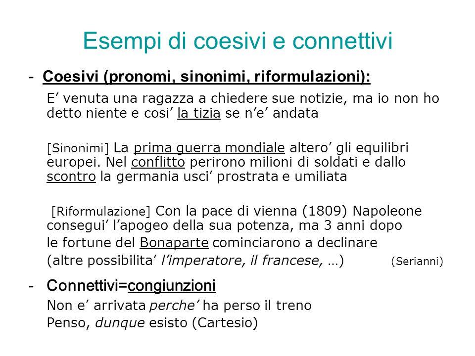 Esempi di coesivi e connettivi - Coesivi (pronomi, sinonimi, riformulazioni): E venuta una ragazza a chiedere sue notizie, ma io non ho detto niente e