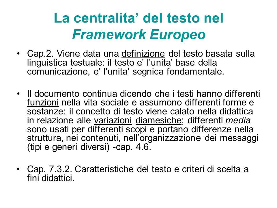 La centralita del testo nel Framework Europeo Cap.2. Viene data una definizione del testo basata sulla linguistica testuale: il testo e lunita base de