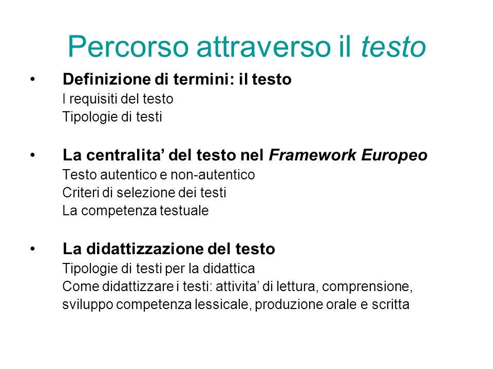 Percorso attraverso il testo Definizione di termini: il testo I requisiti del testo Tipologie di testi La centralita del testo nel Framework Europeo T
