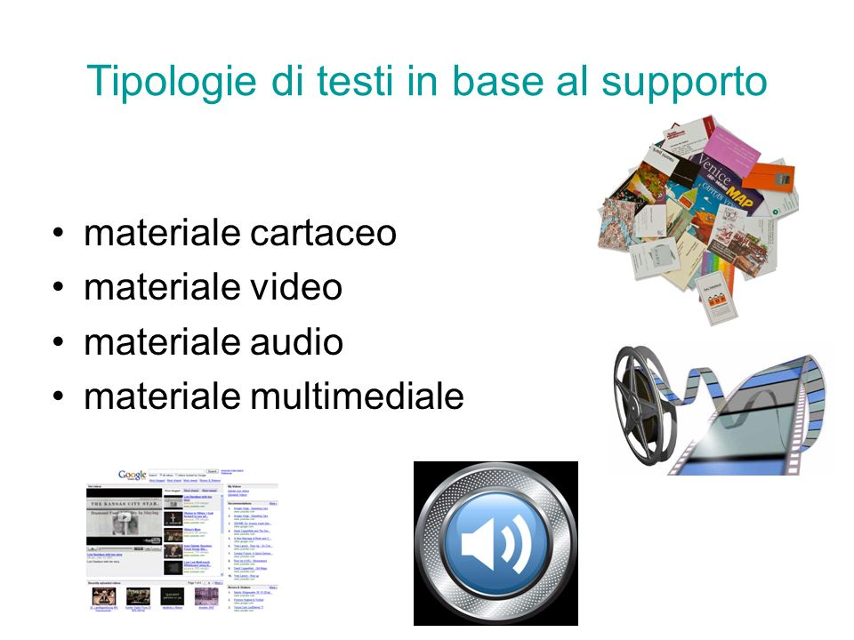 Tipologie di testi in base al supporto materiale cartaceo materiale video materiale audio materiale multimediale