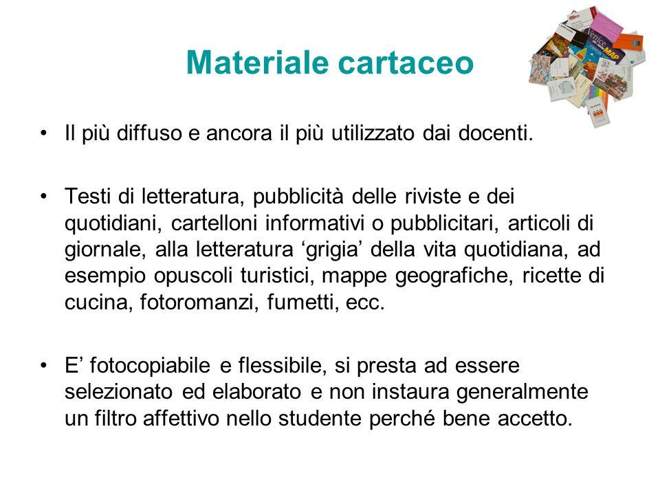 Materiale cartaceo Il più diffuso e ancora il più utilizzato dai docenti. Testi di letteratura, pubblicità delle riviste e dei quotidiani, cartelloni