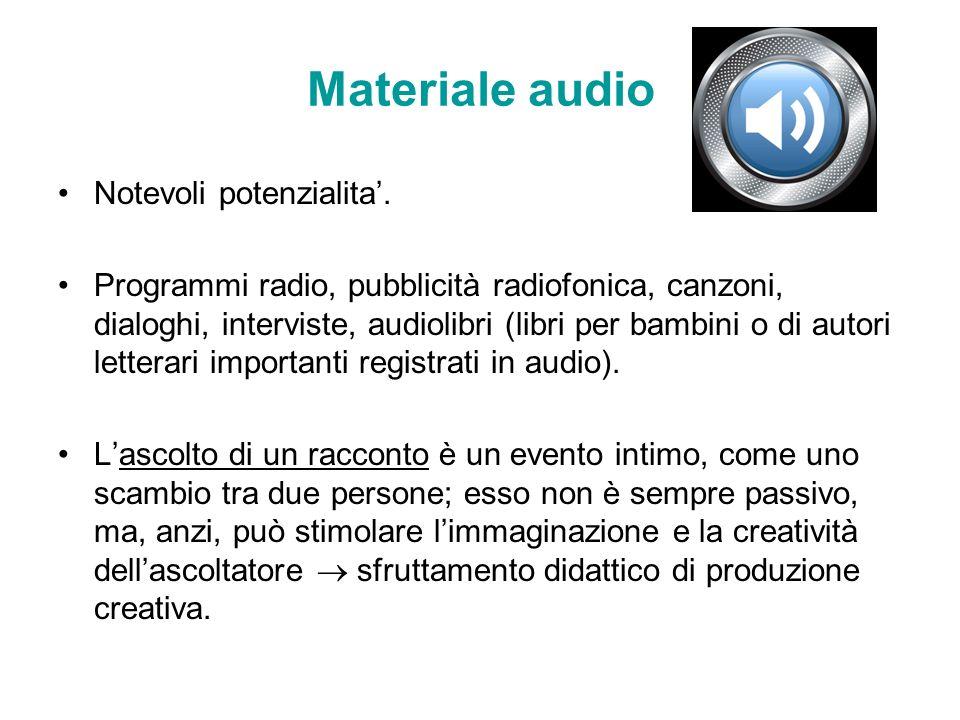 Materiale audio Notevoli potenzialita. Programmi radio, pubblicità radiofonica, canzoni, dialoghi, interviste, audiolibri (libri per bambini o di auto