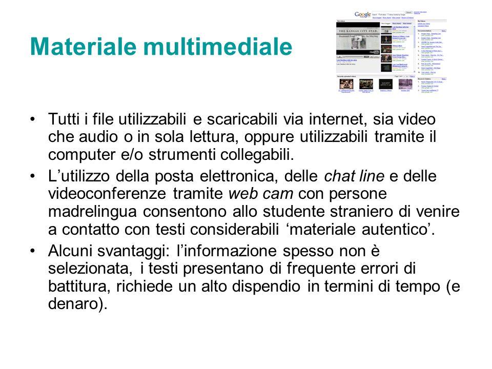 Materiale multimediale Tutti i file utilizzabili e scaricabili via internet, sia video che audio o in sola lettura, oppure utilizzabili tramite il com