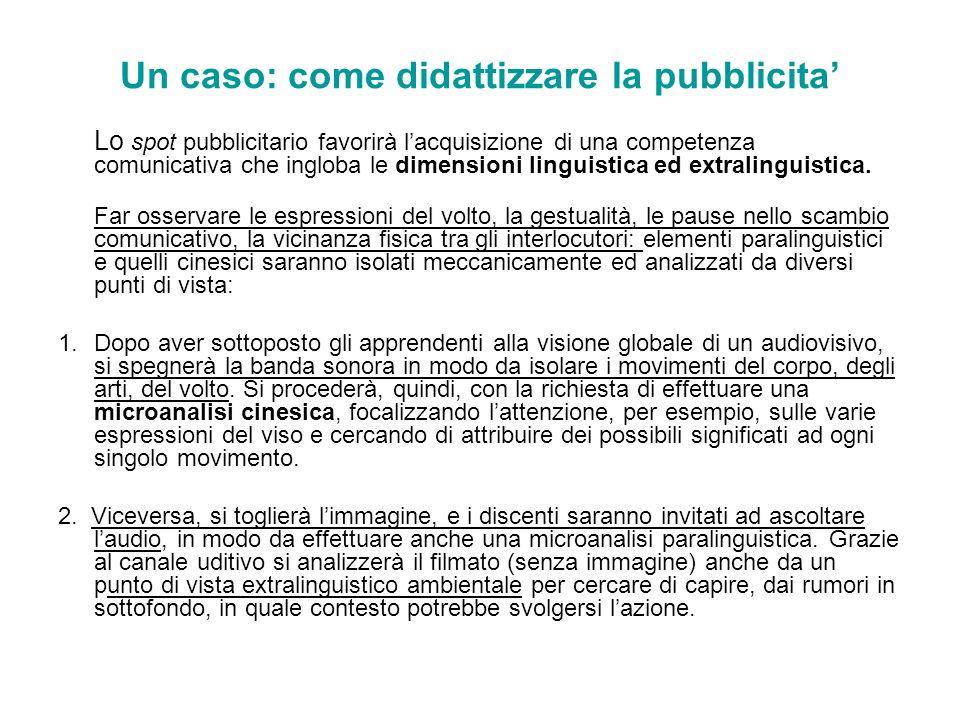 Un caso: come didattizzare la pubblicita Lo spot pubblicitario favorirà lacquisizione di una competenza comunicativa che ingloba le dimensioni linguis