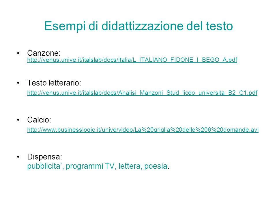 Esempi di didattizzazione del testo Canzone: http://venus.unive.it/italslab/docs/italia/L_ITALIANO_FIDONE_I_BEGO_A.pdf http://venus.unive.it/italslab/