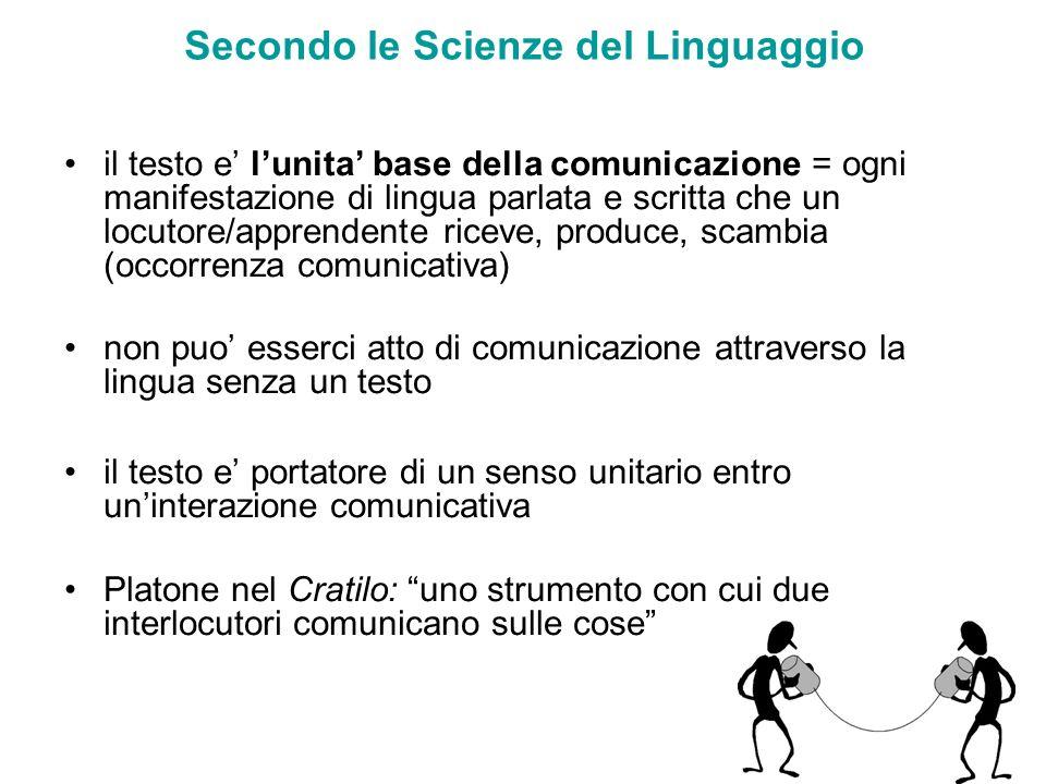 Secondo le Scienze del Linguaggio il testo e lunita base della comunicazione = ogni manifestazione di lingua parlata e scritta che un locutore/apprend