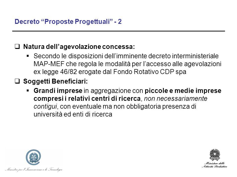 Decreto Proposte Progettuali - 2 Natura dellagevolazione concessa: Secondo le disposizioni dellimminente decreto interministeriale MAP-MEF che regola