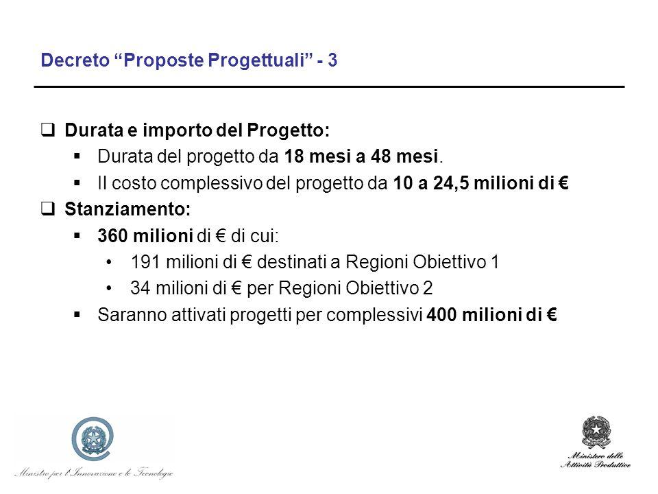 Decreto Proposte Progettuali - 3 Durata e importo del Progetto: Durata del progetto da 18 mesi a 48 mesi. Il costo complessivo del progetto da 10 a 24