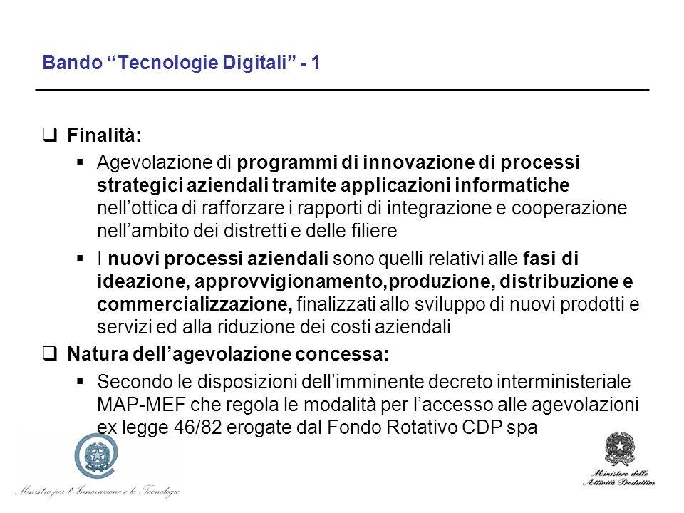 Bando Tecnologie Digitali - 1 Finalità: Agevolazione di programmi di innovazione di processi strategici aziendali tramite applicazioni informatiche ne