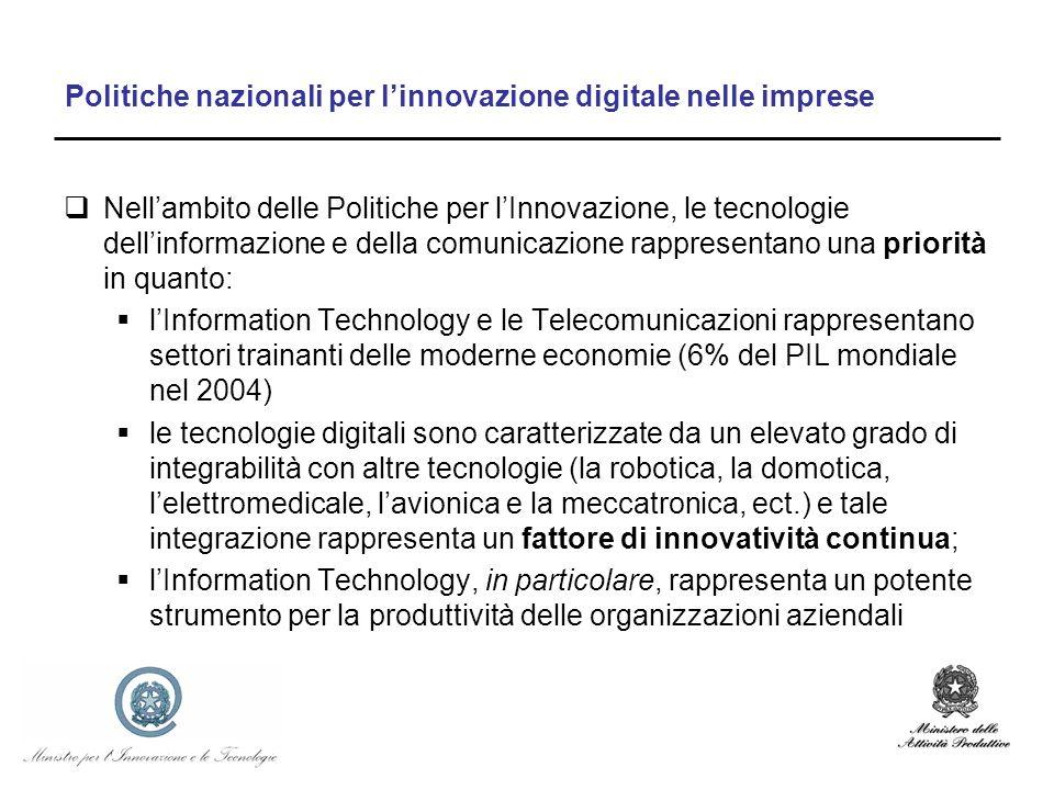 Politiche nazionali per linnovazione digitale nelle imprese Nellambito delle Politiche per lInnovazione, le tecnologie dellinformazione e della comuni